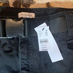 Black Denim Skirt w/ belt - Topshop - NEVER WORN